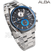ALBA雅柏錶 潮流世代 三眼多功能 計時碼表 日期顯示窗 防水錶 不銹鋼 男錶 AM3599X1 VD57-X136D