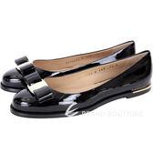 Salvatore Ferragamo LUNA 蝴蝶結飾漆皮平底鞋(黑色) 1541079-01