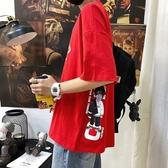短袖T恤潮牌2020新款夏季五分袖t恤男寬鬆短袖ins潮流學生百搭韓版上衣服 JUST M
