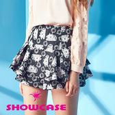 【SHOWCASE】可愛貓咪印花層次波浪短裙(黑)