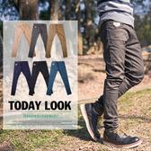 【N8557J】正韓版型英倫帥氣皮標昴釘配飾小直統休閒褲(SH8197)