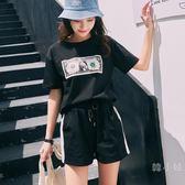 運動套裝女夏2018新品胖mm時尚大尺碼寬鬆短袖短褲跑步服休閒兩件套