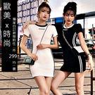 克妹Ke-Mei【AT51637】原單!質感超好年輕感字母單槓印花T恤洋裝