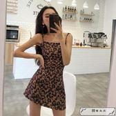 連身裙 港味復古chic吊帶高腰A字裙夏季新款氣質修身豹紋露肩連衣裙女潮