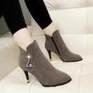 馬丁靴女新款冬季百搭英倫短靴子細跟高跟鞋...