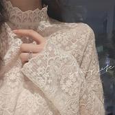 罩衫 超仙的內搭蕾絲衫女2020秋季新款百搭長袖半高領網紗打底衫上衣易家樂