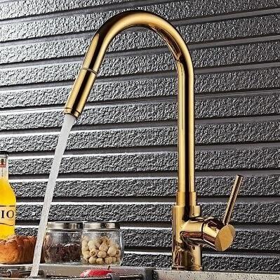 歐式全銅廚房抽拉水龍頭金色洗菜盆廚房水槽龍頭臺下盆伸縮龍頭