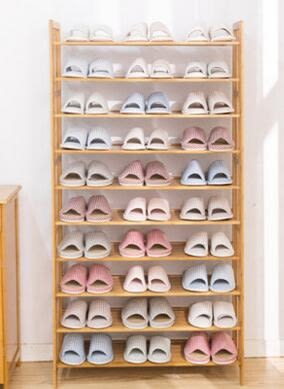 翠竹居楠竹簡易實板鞋架子多層防塵收納架鞋櫃經濟型特價簡約(10層80提
