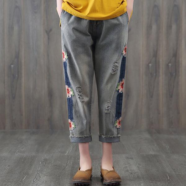 現貨 刺繡刷色抓破牛仔褲哈倫褲 中大尺碼【96-27-880180601036-18】ibella 艾貝拉