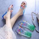 兒童拖鞋夏季親子小女孩室內防滑軟底涼拖女童水晶珍珠平底沙灘鞋 滿天星