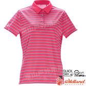 Wildland 荒野 0A71601-09桃紅色 女涼感條紋POLO上衣 抗UV/涼爽散熱/吸濕快乾/團體服/舒適柔軟