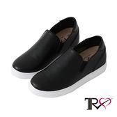 【TRS】時尚皮質舒適內增高樂福鞋 ↑6cm -黑(7100-0029)