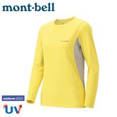 【Mont-Bell 日本 女 Wickron Zeo 長袖排汗T桖《淺黃》】1104939/刷毛長袖/中層衣/排汗休閒衫/彈性