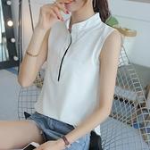 无袖白衬衫女2021夏装新款韩版大码宽松显瘦百搭衬衣职业装打底衫