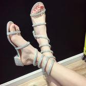 羅馬涼鞋女夏2018新款仙女粗跟一字帶中跟性感蛇形纏繞高跟鞋zzy85『愛尚生活館』