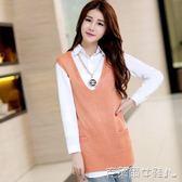 秋裝針織衫背心外套中長款寬鬆無袖毛衣女韓版單件馬甲 免運