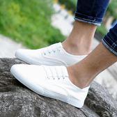 男鞋子韓版帆布鞋男潮流休閒鞋社會小伙鞋子英倫懶人鞋百搭小白鞋潮