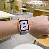 適用蘋果手表表帶6/SE5apple iwatch撞色硅膠配殼個性淺粉1-6
