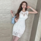 無袖洋裝小禮服 2021新款韓版性感鏤空圓領無袖蕾絲拼接高腰顯瘦開叉包臀連身裙女