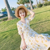 碎花洋裝2019春夏新款清新v領收腰顯瘦溫柔裙中長款雪紡裙子女  韓語空間