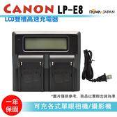 攝彩@LCD雙槽高速充電器 Canon LP-E8 液晶螢幕電量顯示 可調高低速雙充 AC快充 ROWA 單眼