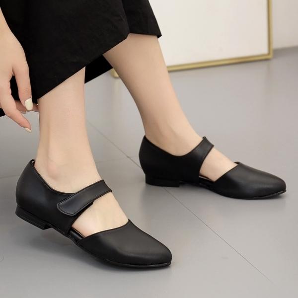 微尖頭鞋.訂製款.MIT日系瑪莉珍繞帶魔鬼氈平底包鞋.白鳥麗子