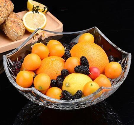 創意歐式玻璃糖果盤大號 現代客廳家用 水果盤無鉛沙拉果盆干果盤【櫻花本鋪】