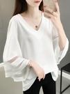 鏤空歐根紗白色雪紡衫女2021年夏季新款韓版喇叭袖寬鬆大碼上衣潮 果果輕時尚