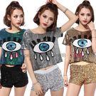 衣美姬♥ 時尚短版 亮片 短袖上衣 流行眼睛圖案T恤 辣妹勁歌熱舞嘻哈表演服