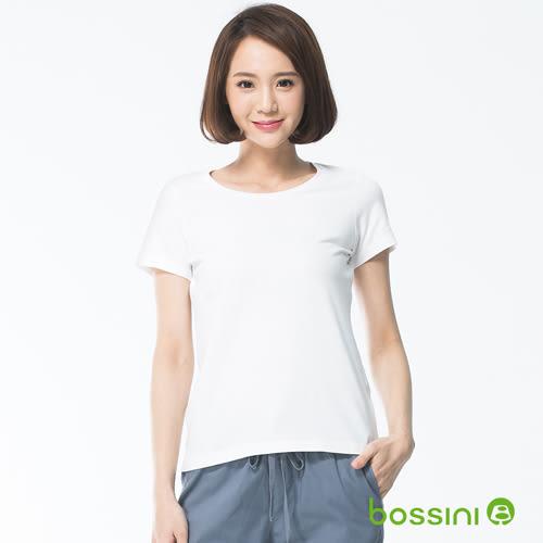 素面彈性圓領T恤01白-bossini女裝
