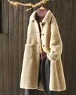 羊剪絨大衣中長版翻領顯瘦羊羔絨保暖外套/...