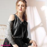 【SHOWCASE】甜美露肩繡金點點雙層透膚長袖上衣(黑色)