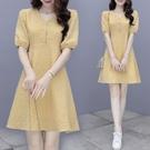 兩件套短袖韓版實拍夏裝款新款法式格子連衣...