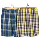 手作 跳色格紋休閒短褲 100%純棉布 舒適 透氣 日本進口布料質感優 共2色 單一尺寸-32腰