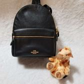 COACH 金色馬車 黑色 荔枝紋材質  最新經典款 迷你後背包 限時限量特價$3980