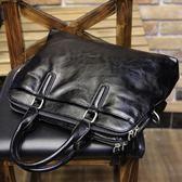 小P男包 男士單肩斜挎包橫款方形商務旅行包手提包韓版軟皮休閒-Ifashion