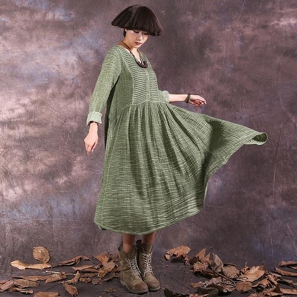 長袖連身裙-V領棉麻寬鬆純色女長裙4色73vu7【巴黎精品】
