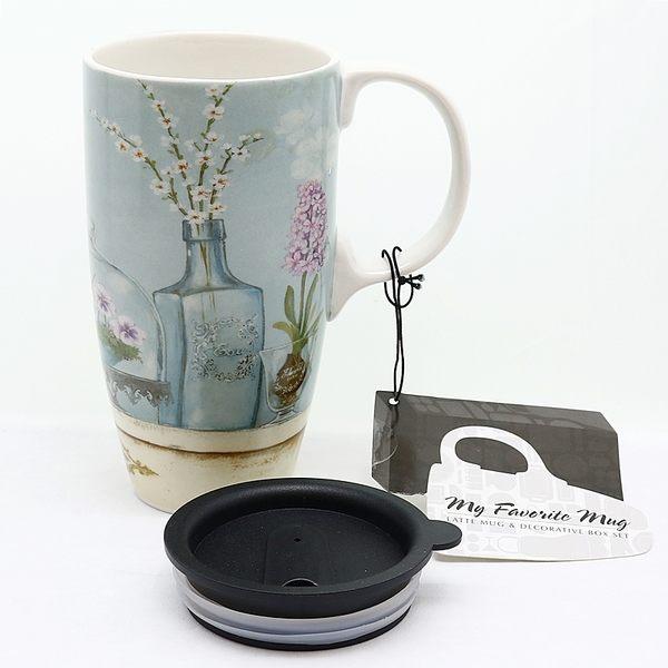 【美國品牌Royal Duke】陶瓷休閒杯(附蓋)-我的秘密花園QC07
