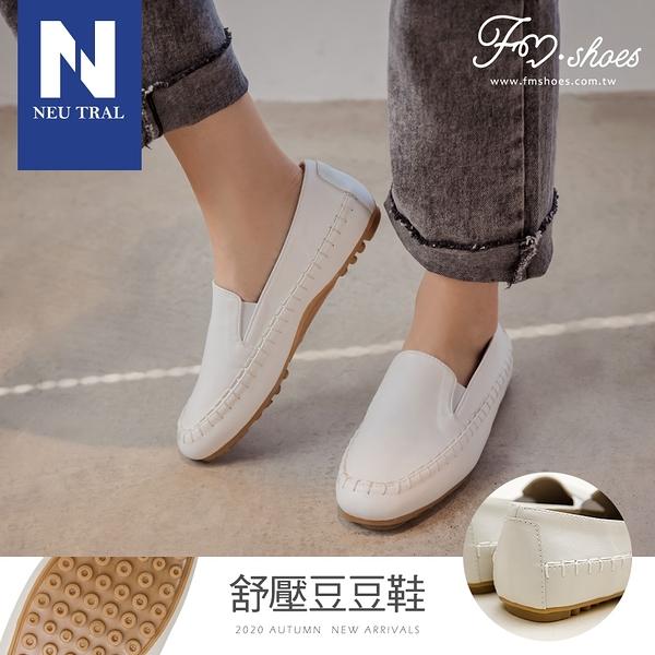 包鞋.方頭軟革手縫豆豆鞋-白-FM時尚美鞋-Neu Tral.Vacation