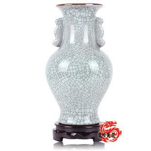 陶瓷器花瓶古官窯開片釉觀音尊