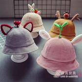(超夯免運)新品燈芯絨兒童漁夫帽5個月-2歲男童盆帽1歲女童寶寶帽子正韓潮款