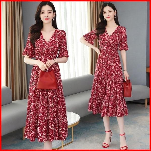 韓國風短袖洋裝 雪紡V領碎花連衣裙短袖收腰顯瘦氣質連身裙 依多多