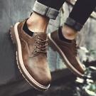 男青年春季馬丁大頭工裝雕花皮鞋英倫耐磨工地干活做舊勞保棕色鞋 蘿莉小腳丫