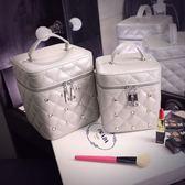 韓國手提化妝包大容量女簡約小號便攜小淑女化妝箱化妝品收納包 全館免運