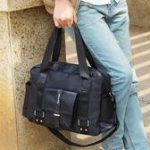 尼龍韓版男包包商務休閒手拎行李包男士旅行包手提單肩斜挎包 【販衣小築】