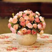 仿真花 假花仿真花客廳玫瑰套裝花瓶絹花臥室裝飾花餐桌花藝擺件 綠光森林