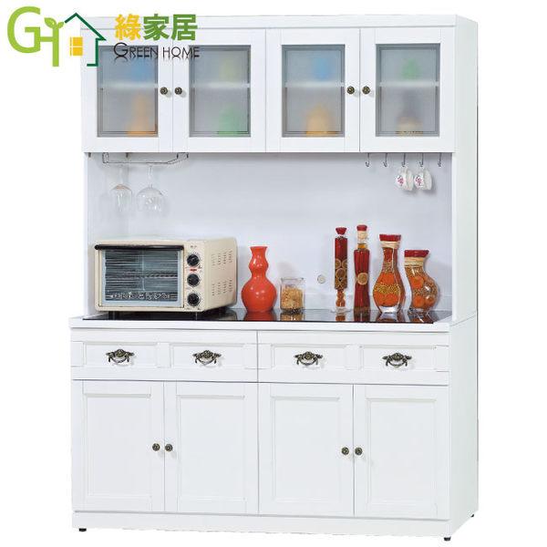 【綠家居】史托斯 典雅白5.1尺玻璃餐櫃/收納櫃組合(上+下座)