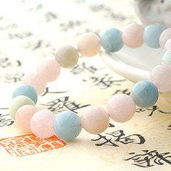 開光摩根石綠柱石手鏈 甜美糖果色願望石水晶飾品