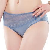 思薇爾-幾何花系列M-XXL蕾絲中腰三角內褲(灰夜藍)