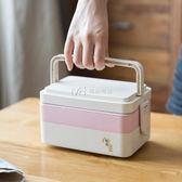 飯盒  日式便當盒微波爐分格三層稻殼飯盒便當餐盒壽司盒  瑪奇哈朵